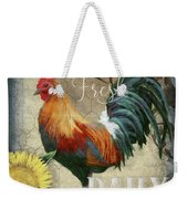 Farm Fresh Red Rooster Sunflower Rustic Country Weekender Tote Bag