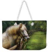 Farm - Horse - White Stallion Weekender Tote Bag