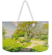 Farm Scene With Pecking Chickens Weekender Tote Bag