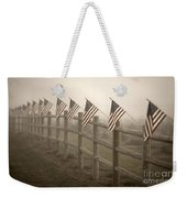 Farm With Fence And American Flags Weekender Tote Bag