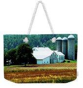 Farm With White Silos Weekender Tote Bag