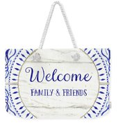 Farmhouse Blue And White Tile 6 - Welcome Family And Friends Weekender Tote Bag