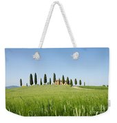 Farmhouse With Cypress Trees And Crops In Tuscany Weekender Tote Bag