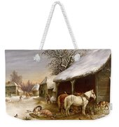 Farmyard In Winter  Weekender Tote Bag