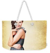 Fashionable Girl In Classic 50s Style Clothing Weekender Tote Bag