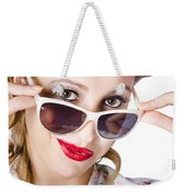 Fashionable Woman In Sun Shades Weekender Tote Bag