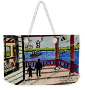 Father And Son On The Porch Weekender Tote Bag