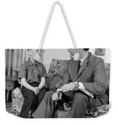 Father And Son Talking And Smiling Weekender Tote Bag