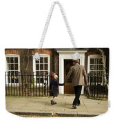 Father And Son Walking Towards Georgian Entrance Weekender Tote Bag
