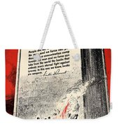Fdr Quote On Book Burning  Weekender Tote Bag by War Is Hell Store