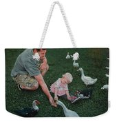 Feeding Ducks With Daddy Weekender Tote Bag