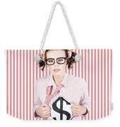 Female Business Superhero Showing Dollar Sign Weekender Tote Bag