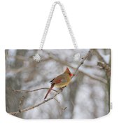 Female Cardinal In Winter Weekender Tote Bag