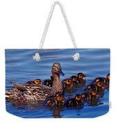 Female Mallard Duck With Chicks Weekender Tote Bag
