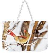 Female Northern Cardinal In The Snow Weekender Tote Bag