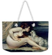 Female Nude With A Dog Weekender Tote Bag