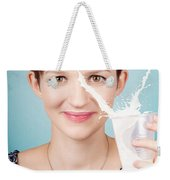 Female Nutritionist Showing Full Cream Milk Love Weekender Tote Bag
