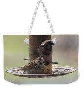 Female Sparrow On Birdfeeder Weekender Tote Bag