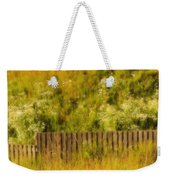 Fence And Hillside Of Wildflowers On Suomenlinna Island In Finland Weekender Tote Bag