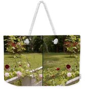 Fence Full Of Roses - Cross Your Eyes And Focus On The Middle Image Weekender Tote Bag