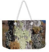 Fence Post Encrusted With Lichen  Weekender Tote Bag