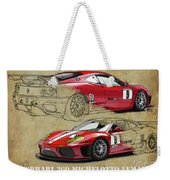 Ferrari 360 Michelotto Le Mans Race Car. Two Drawings One Print Weekender Tote Bag