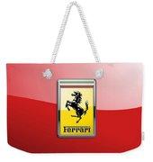 Ferrari 3d Badge-hood Ornament On Red Weekender Tote Bag