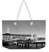 Ferry Building And Pinnacle Building - San Francisco Embarcadero - Black And White Weekender Tote Bag