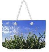 Field Of Corn Against A Clear Blue Sky Weekender Tote Bag