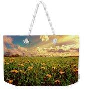 Field Of Dandelions At Sunset Weekender Tote Bag