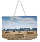 Field With Straw Bale And Center Pivot Sprinkler System Agricult Weekender Tote Bag