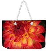 Fiery Red And Yellow Dahlia Weekender Tote Bag