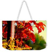 Fiery Red Autumn Weekender Tote Bag