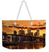 Fiery Sunset Over Manhattan  Weekender Tote Bag
