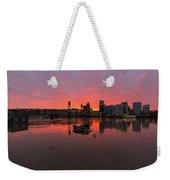Fiery Sunset Over Portland Skyline Weekender Tote Bag