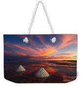 Fiery Sunset Over The Salar De Uyuni Weekender Tote Bag