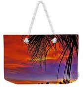 Fiery Sunset With Palm Tree Weekender Tote Bag