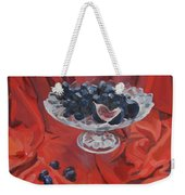 Figs And Grapes On Red  Weekender Tote Bag