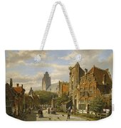 Figures In The Streets Of A Wintry Dutch Town Weekender Tote Bag