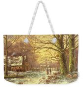 Figures On A Path Before A Village In Winter Weekender Tote Bag
