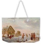 Figures Skating In A Winter Landscape Weekender Tote Bag by Hendrik Willem Schweickardt