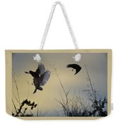 Finches Silhouette With Leaves 5 Weekender Tote Bag
