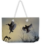 Finches Silhouette With Leaves 6 Weekender Tote Bag