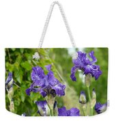 Fine Art Floral Prints Purple Iris Flowers Canvas Irises Baslee Troutman Weekender Tote Bag