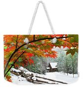 Fire Fog And Snowy Fence Weekender Tote Bag