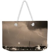 Fire Rescue Station 67  Lightning Thunderstorm Sepia Black And W Weekender Tote Bag