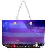 Fire Rescue Station 67  Lightning Thunderstorm With Usa Flag Weekender Tote Bag