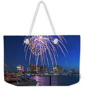 Fireworks Over The Boston Skyline Boston Harbor Illumination Streaming Down Weekender Tote Bag