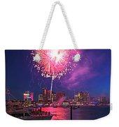 Fireworks Over The Boston Skyline Boston Harbor Illumination Weekender Tote Bag
