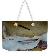 Fish And Knife On A Cutting Board Weekender Tote Bag